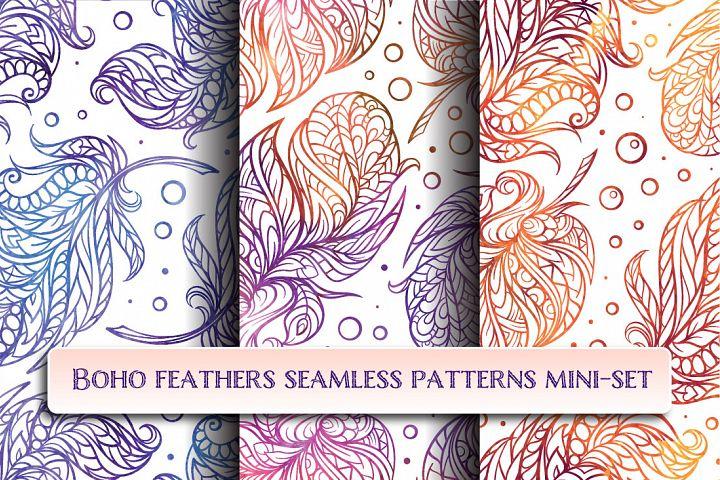 Boho feathers seamless patterns mini-set