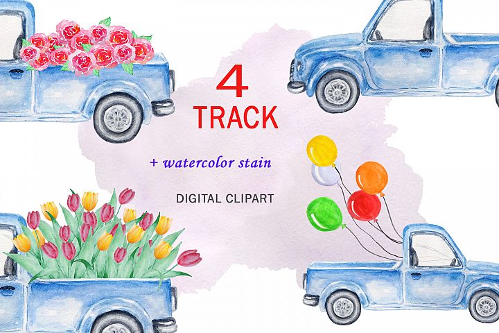Watercolor Blue Track Clipart