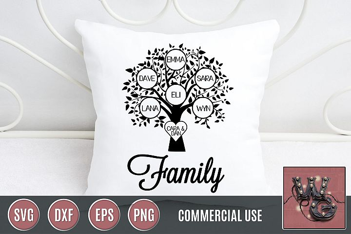 Family Tree Template Bundle SVG DXF PNG EPS Commercial