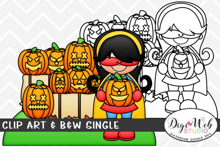 Clip Art & B&W Single - Superhero Girl w/ Jack-o-lanterns
