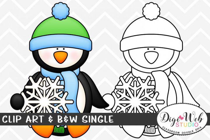Clip Art & B&W Single - Winter Penguin w/ Snowflake