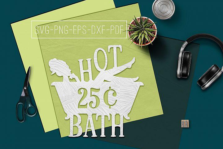 Hot Bath Sign Papercut Template, Bathroom Decor, SVG, PDF