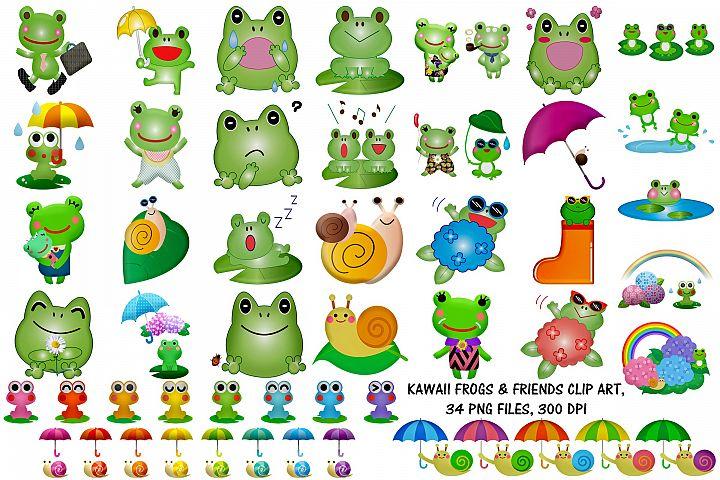 Kawaii Frogs & Friends Cute Clip Art