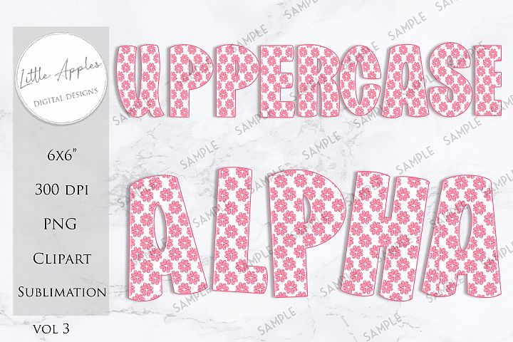 Alphabet Clipart - Pink & White Hearts - Sublimation