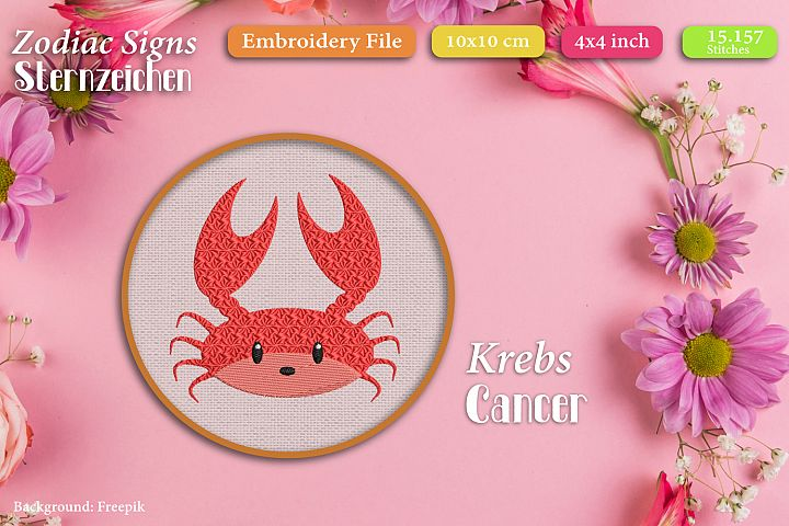 Zodiac sign - Cancer - Embroidery Files