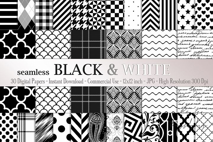 30 Seamless Black & White Basic Common Home Decor Patterns