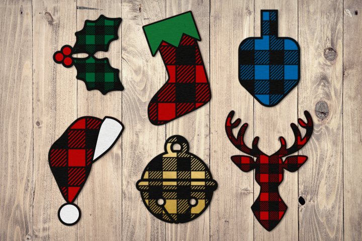 Buffalo Plaid Christmas Icon Set SVG Design