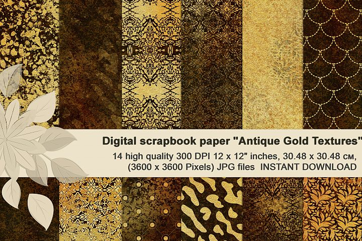Antique gold textures, Luxuryous, patterned digital paper.
