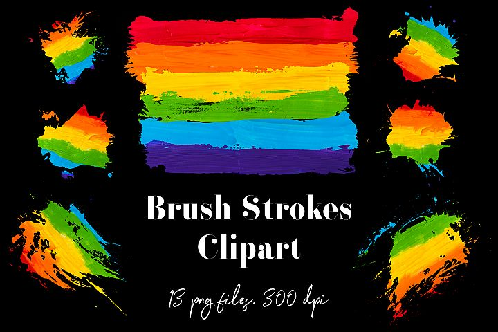 Rainbow Brush Strokes Clipart