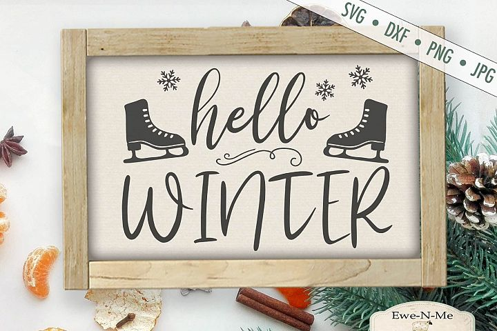Hello Winter - Ice skates - SVG DXF Files