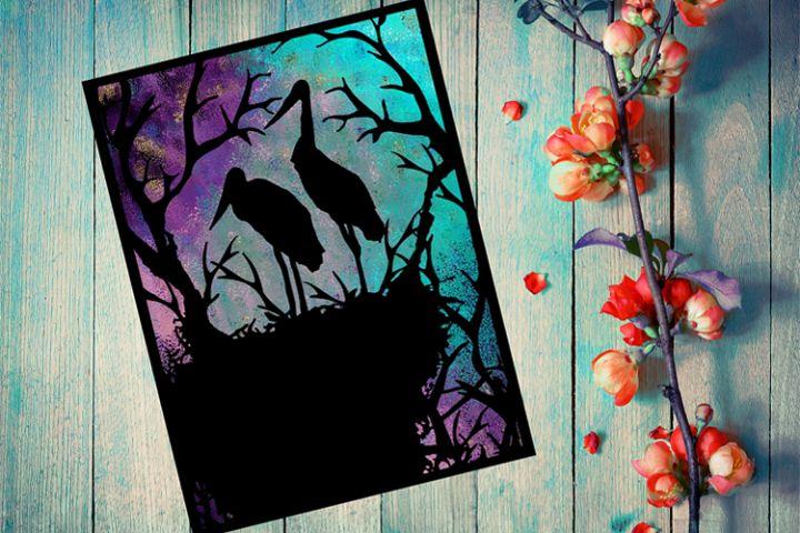 Storks Papercut Template