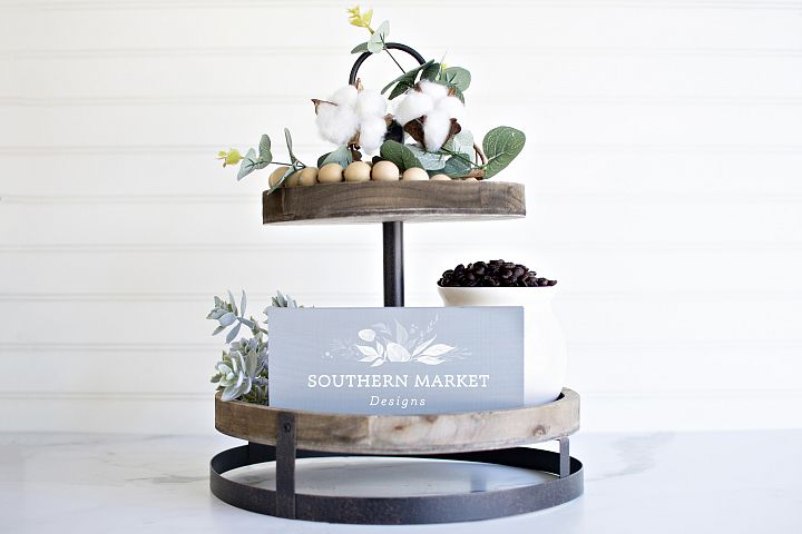 4x6 Tiered Tray Grey Wood Sign Digital Mock Up Styled Photo