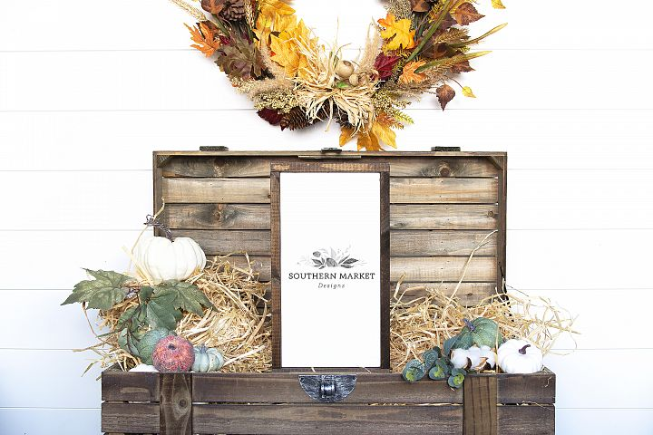 Fall Wood Framed Sign 8x18 Vertical Mock Up Stock Photo