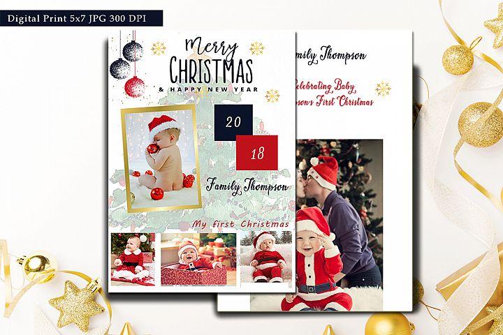 Christmas Card Template 2018, Merry Christmas Holiday Horizo