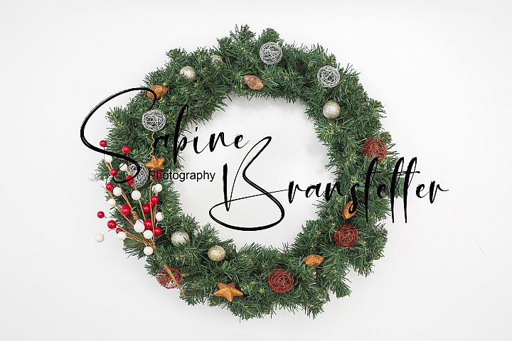 Styled Stock Photo Christmas Wreath White Background Mockup