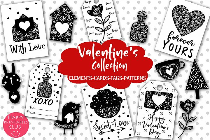Valentines Collection-Cliparts,Cards, Tags, Patterns