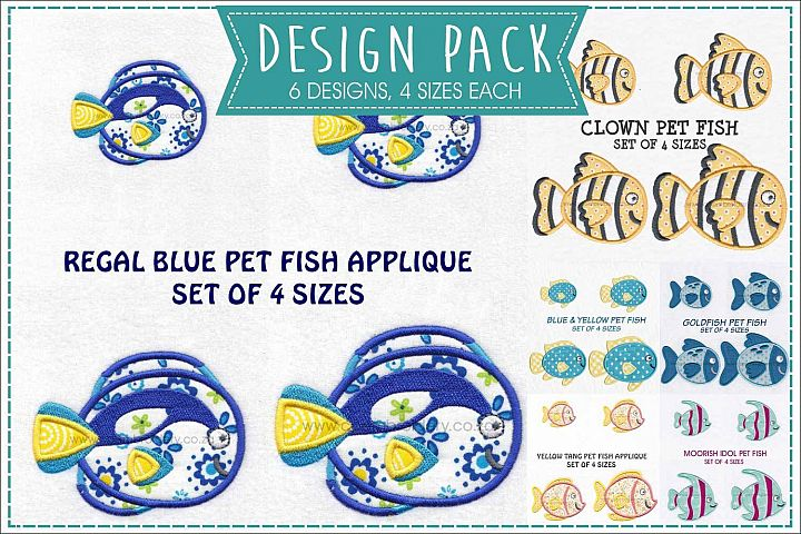 Pet Fish Applique Embroidery Size Pack
