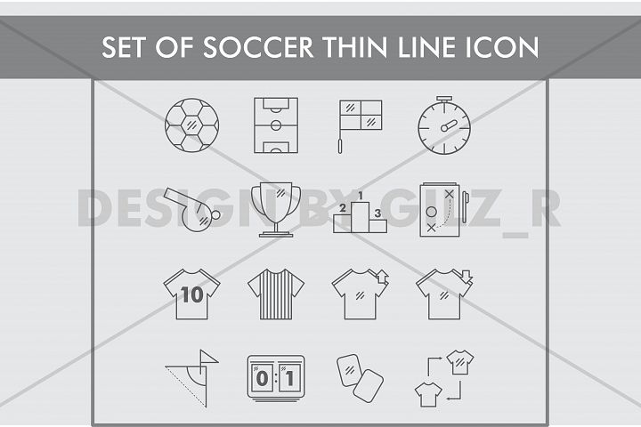 Set of Soccer Thin Line Icons