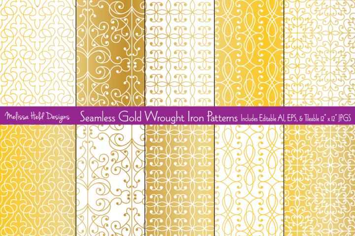 Seamless Gold Wrought Iron Patterns