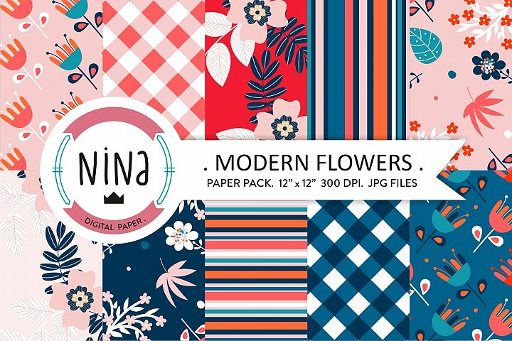 Modern flower Digital Paper, floral digital papers, minimal