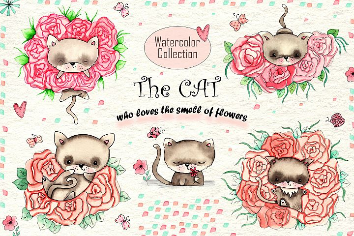 Cats and Flowers Watercolor Collection