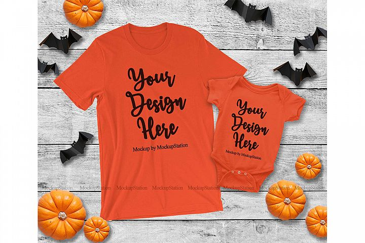 Halloween Mommy and Me Matching Family Orange Shirts Mockup