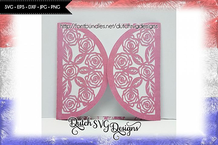 Blank card cut file with roses, card svg, roses svg, mom svg
