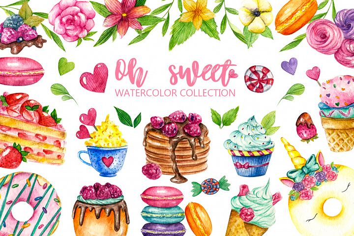 Sweets Confectionery watercolor clipart. Donat day clip art
