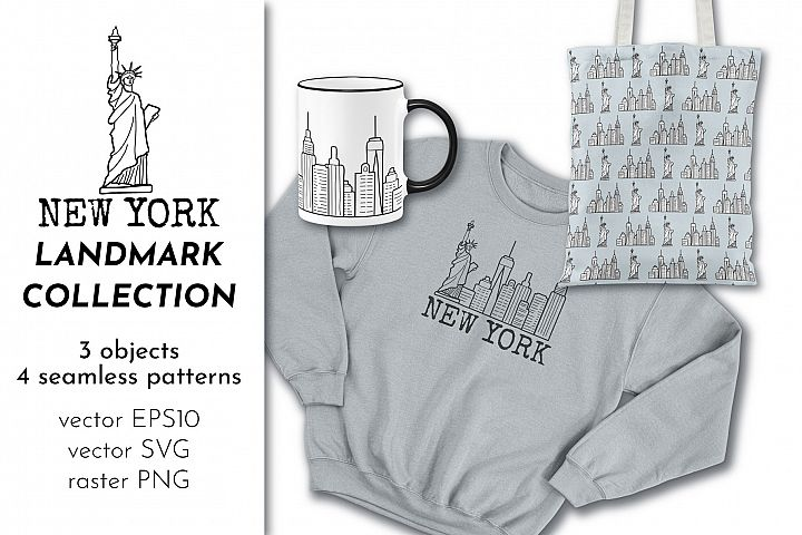 New York Line Drawing & Patterns Bundle