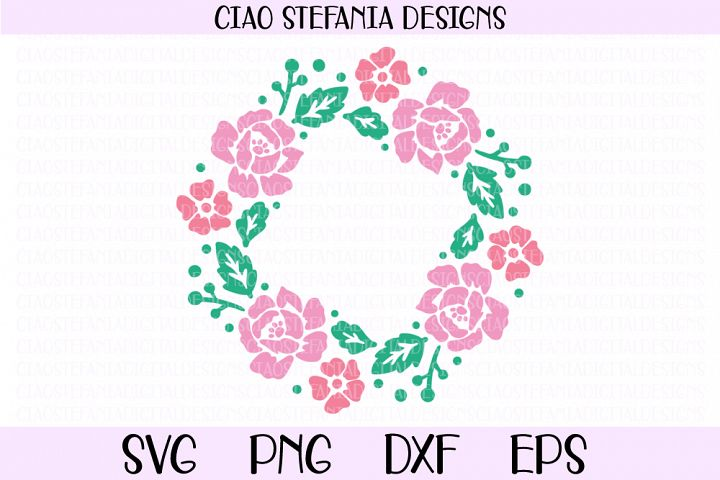 Floral Wreath Peonies SVG PNG DXF EPS Cut File