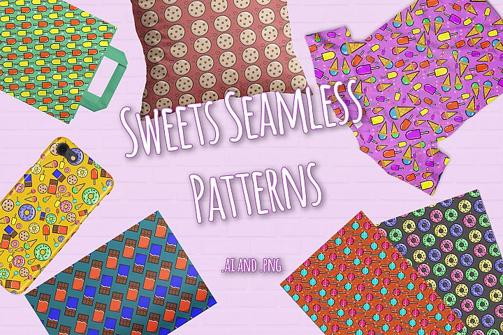 10 Sweets Seamless Patterns