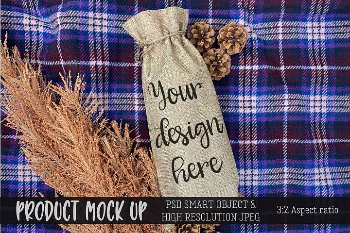 Wine Gift Bag cozy Craft mock up | PSD & JPEG