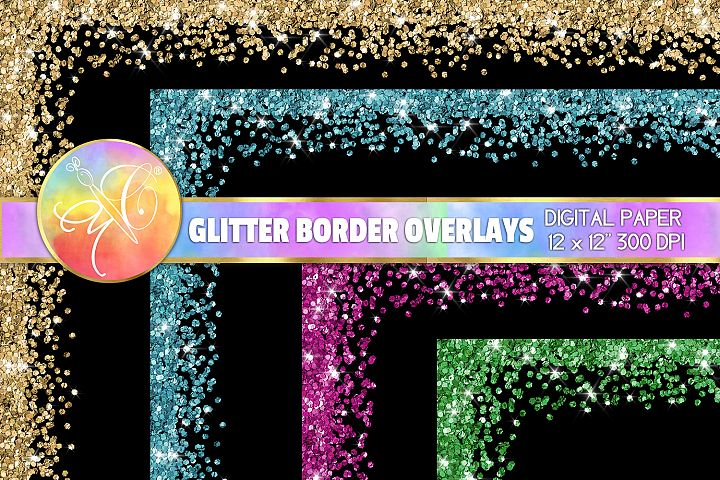 Glitter Borders Overlays 12x12