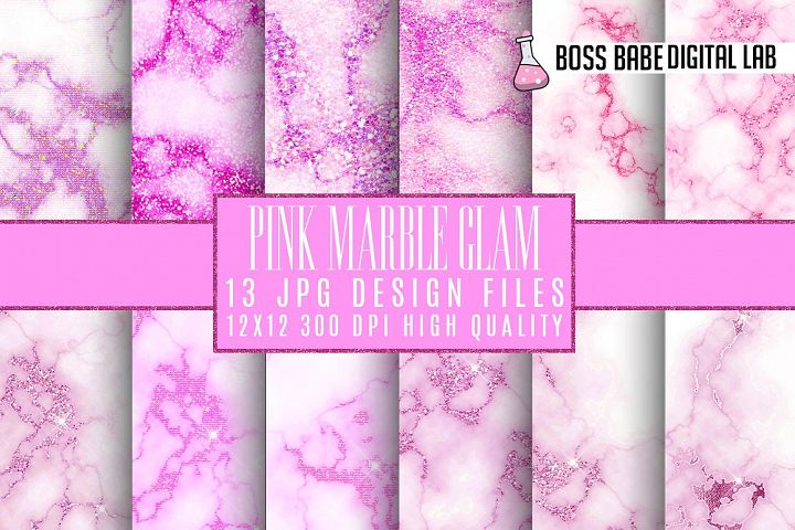 Pink Glam marble digital paper