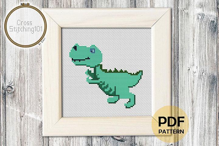 Cartoon Dinosaur Cross Stitch Pattern - Instant Download