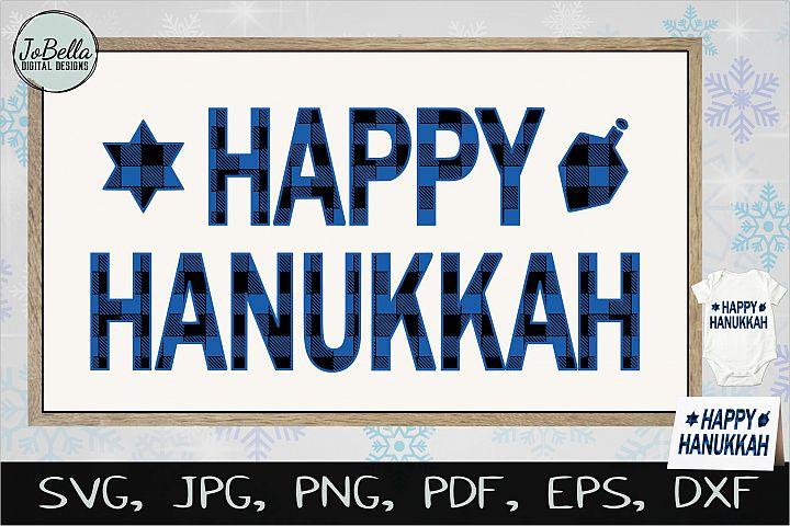 Buffalo Plaid Happy Hanukkah SVG, Printable & Sublimation