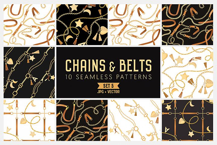 Chains and Belts Seamless Patterns. Set 5 example image 1