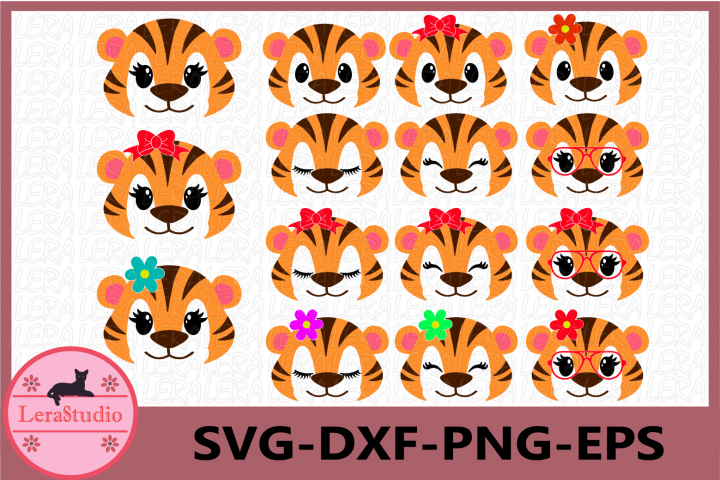 Tiger Face SVG, Safari Animal face svg, Tiger Eyelashes Face