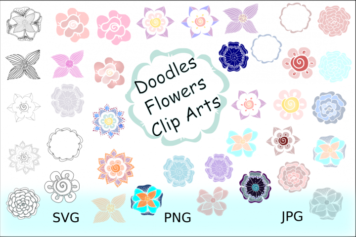 Flowers Doodles Cliparts