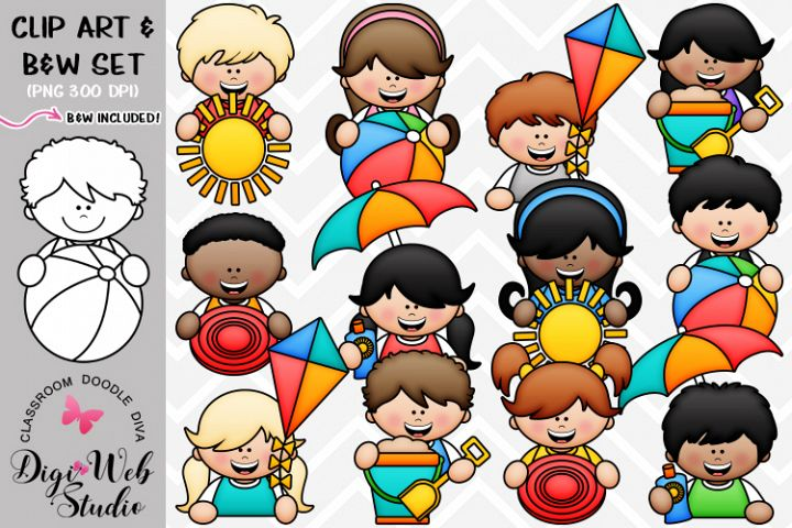 Clip Art / Illustrations - Big Grin Summer Topper Kids