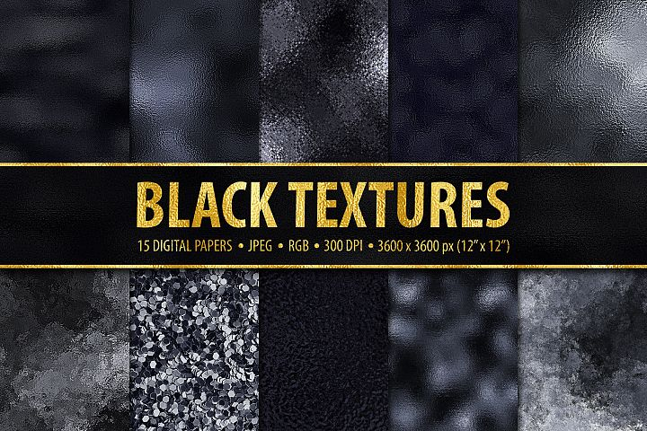 15 Black Metallic, Foil and Glitter Digital Papers