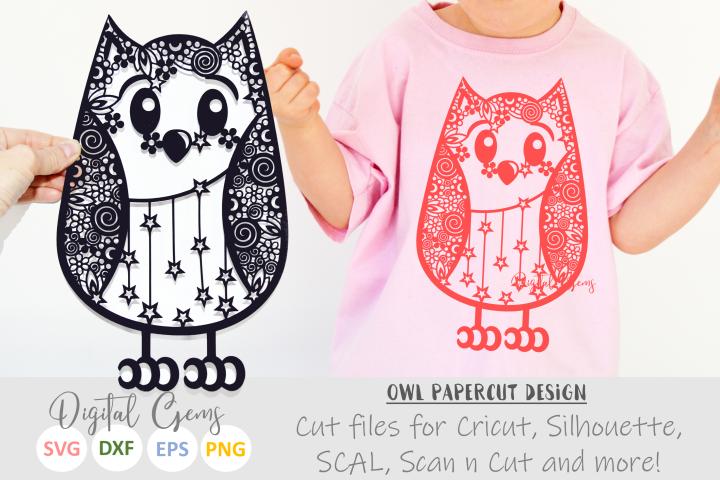 Owl Zentangle paper cut design. SVG / DXF / EPS files
