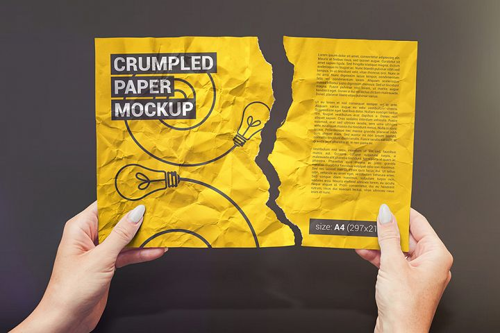Crumpled A4 Paper / Poster / Flyer Mockup
