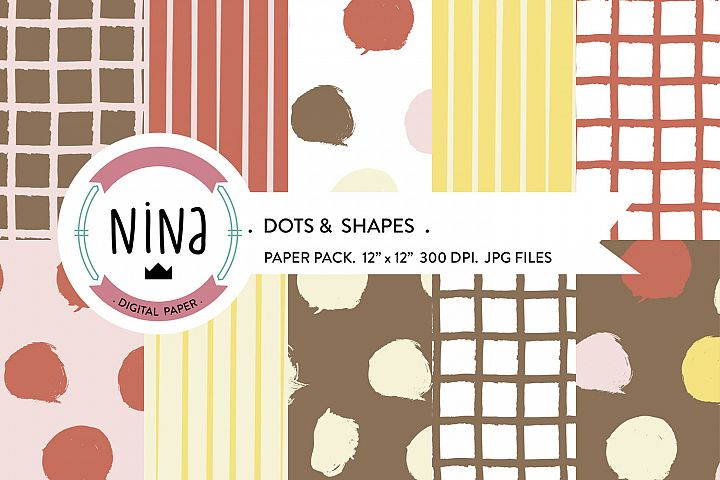 Dots Digital Paper Pack, Pain dots wrapping paper, dot paper