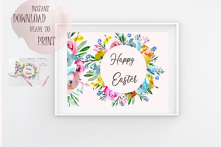 Happy Easter Printable Floral Watercolor