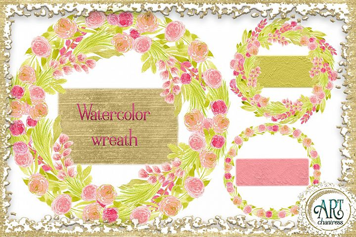 Watercolor Boho Floral Blush pink wreath - 5 elements