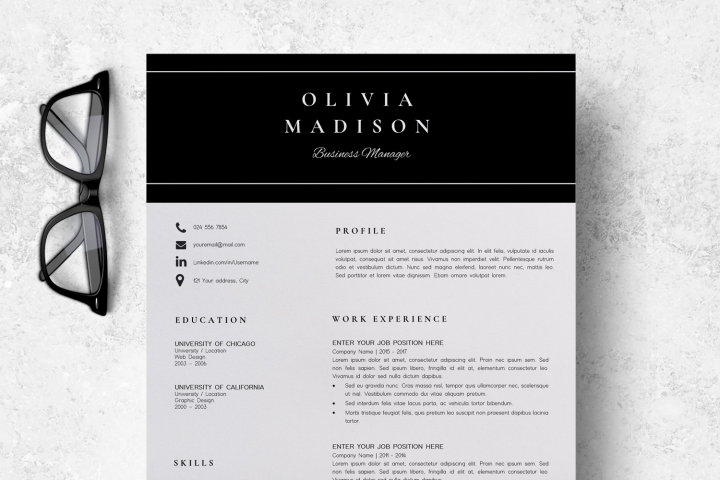 Resume | CV Template Cover Letter - Olivia Madison