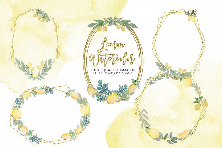 Lemon frames Clipart, Summer Fruit Geometric Clipart