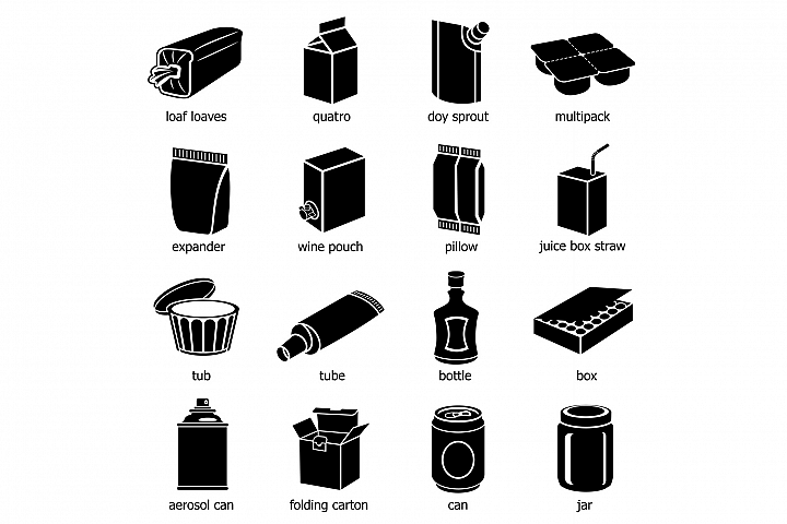 Package types icons set, simple style