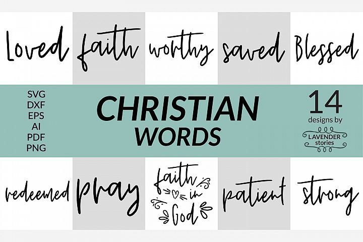 Christian words SVG bundle - 14 designs